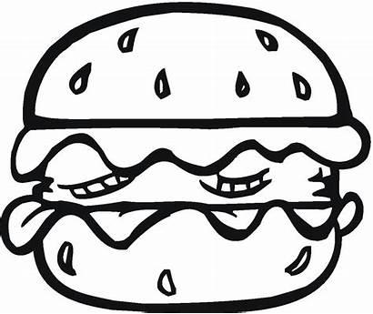 Coloring Pages Bread Hamburger Burger Coloringbookfun