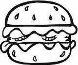 Coloring Pages Bread Food Hamburger Burger sketch template