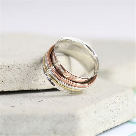 personalised mixed metal hammered effect spinner ring
