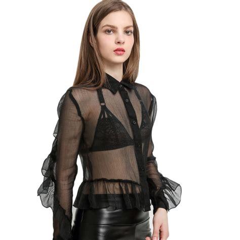 mesh blouse black lapel mesh ruffle shirt summer sleeve