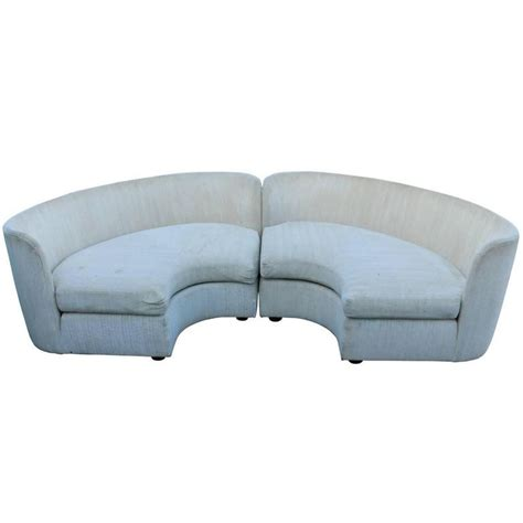 semi circular leather sofa pair of curved semi circular sofas by henrendon at 1stdibs