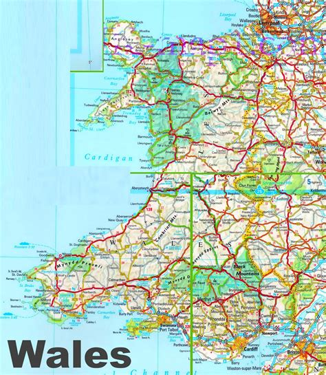 detailed map  wales