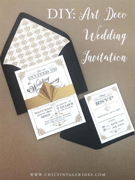 art deco wedding invitation diy   print