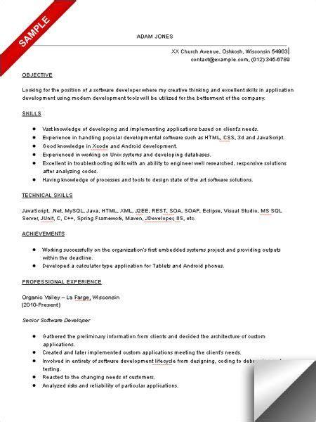 software developer resume sample objective skills
