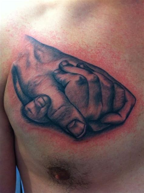 holding hands father daughter chest tattoo tattoo