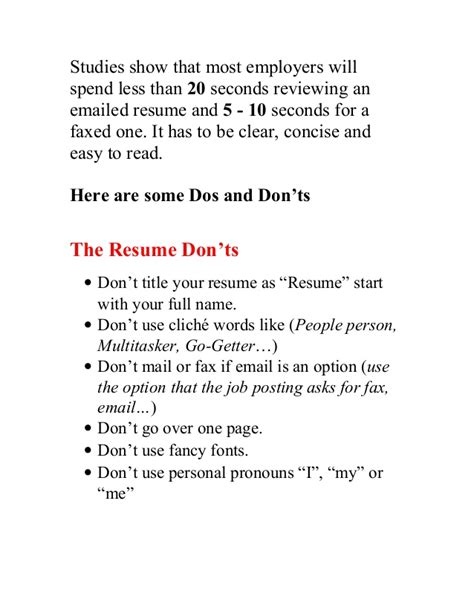 5 Resume Do S And Don Ts by Cv Dos And Don Ts