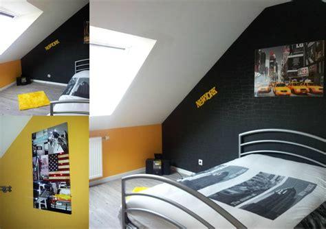 chambre ado grise deco chambre ado gris et jaune