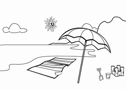 Coloring Beach Scene Pages Printable Drawing Umbrella