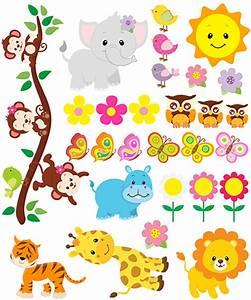 Stickers Animaux De La Jungle : kit stickers muraux pour enfants animaux de la jungle ~ Mglfilm.com Idées de Décoration