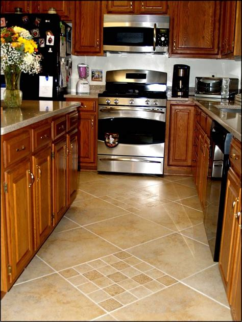 flooring ideas for kitchen with oak cabinets