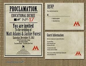 printable harry potter proclamation wedding invitation With harry potter wedding invitations etsy