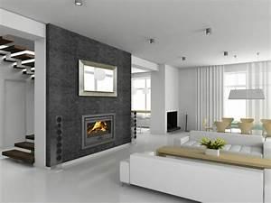 Deco Salon Moderne : chemin e moderne 60 id es de d coration d 39 int rieur convivial ~ Teatrodelosmanantiales.com Idées de Décoration