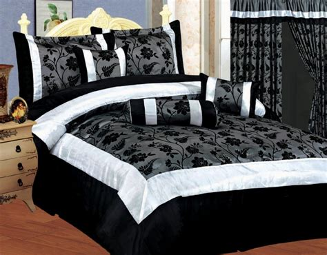 elegant black white and grey bedding with nature inspired