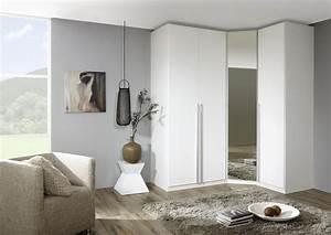 Acheter votre dressing d'angle contemporain portes battantes blanches et miroir chez Simeuble