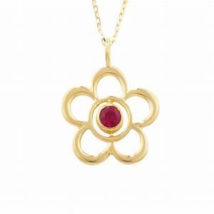 Luxury Yellow Gold Ruby Blossom July Birthstone Pendant ...