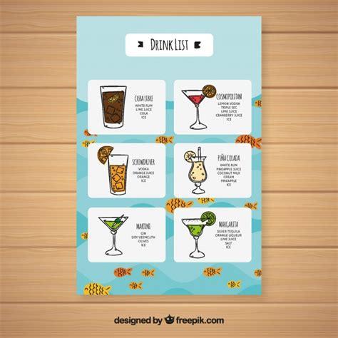 Mit ein paar tipps zum textverarbeitungsprogramm word fügen sie bilder ein und versehen sie mit text. Blaue cocktailkarte   Kostenlose Vektor
