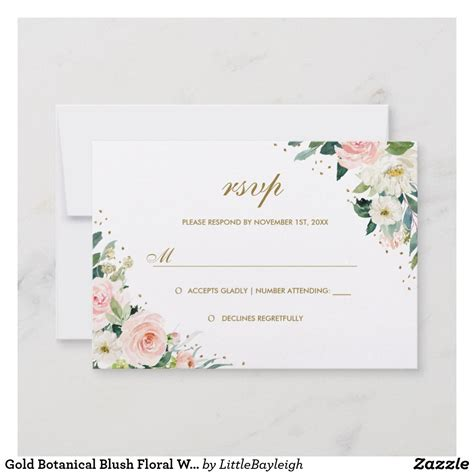 Gold Botanical Blush Floral Wedding RSVP Zazzle com