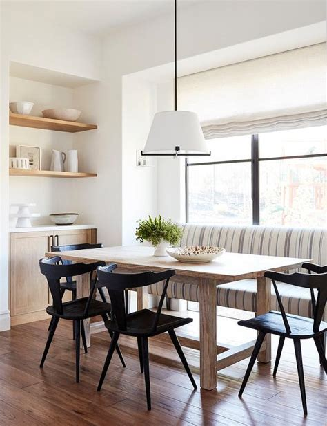 Gray And Blue Stripe Dining Bench With Light Wood Table. Dining Table With Leaves. Pedals Under Desk. Ikea Stand Desk. Ge Microwave Drawer. Drawer Dresser. Desk With Credenza And Hutch. Tips On Organizing Your Desk. Outdoor Table Base