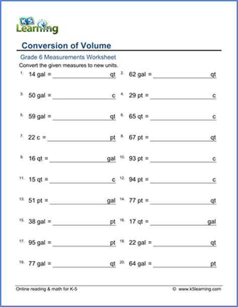 Grade 6 Math Worksheet  Measurement Convert Between Cups, Pints, Quarts And Gallons  K5 Learning