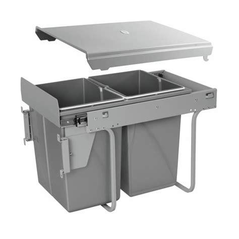 poubelle automatique cuisine poubelle coulissante tri sélectif 2 bacs 20 litres