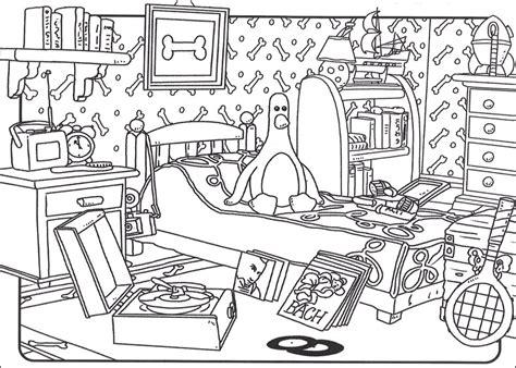 coloriage chambre coloriage a imprimer wallace et gromit la chambre gratuit