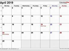 April 2019 Calendar Cute Printable Floral 2019 Monthly