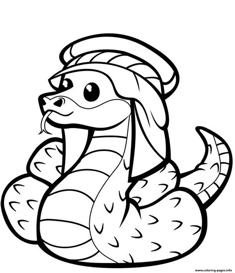 cute snake  kufia coloring pages printable