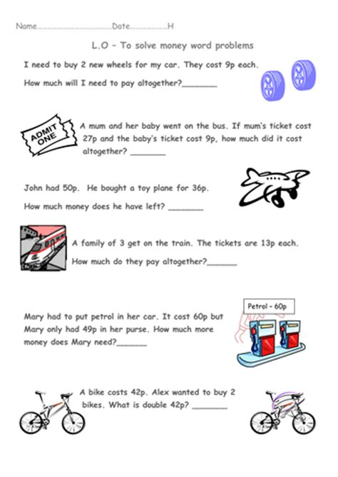 year 1 money word problems transport theme by beckyjanehutchings teaching resources