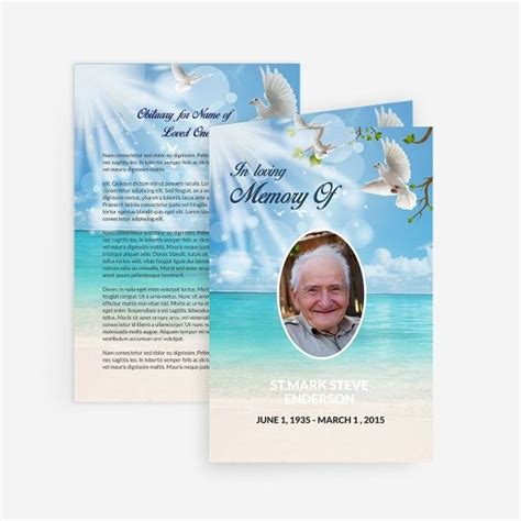 free memorial card template 73 best printable funeral program templates images on