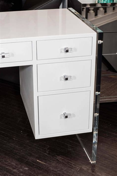 White Lacquer Desk by White High Gloss Lacquer Desk With Lucite Side Panels For