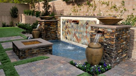 Southern Living Small Living Rooms by Water Features Mediterranean Landscape Las Vegas