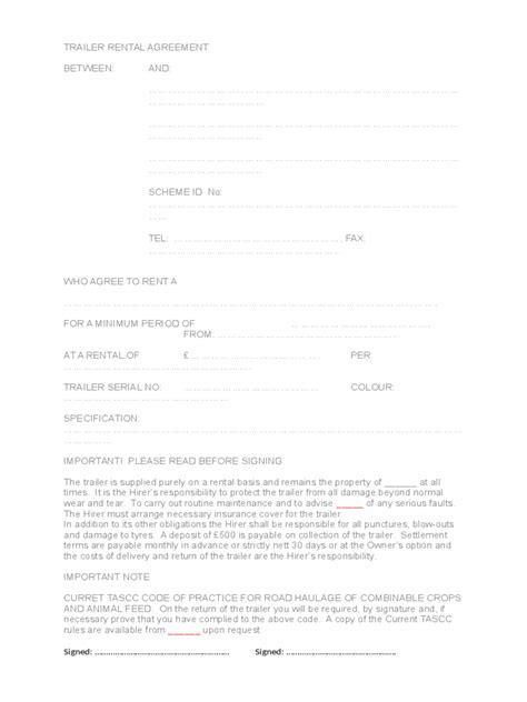 trailer rental agreement   templates   word