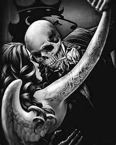 28 best Kissing Skull Tattoo Design Heart images on Pinterest | Couple tat, Colourful art and