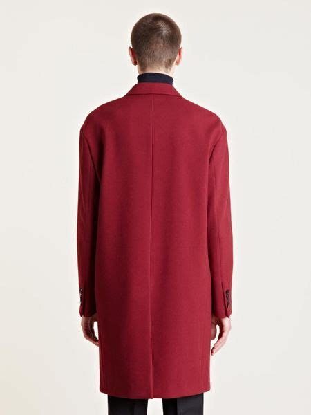 lanvin mens oversized runway coat  red  men lyst