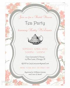 floral bridal shower tea party invitation printable With morning tea invitation template free