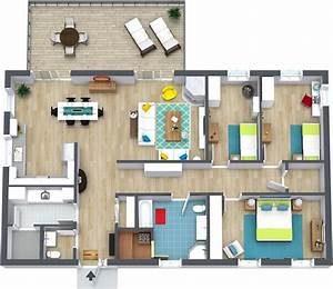 3 bedroom floor plans roomsketcher With three bedroom apartment planning idea