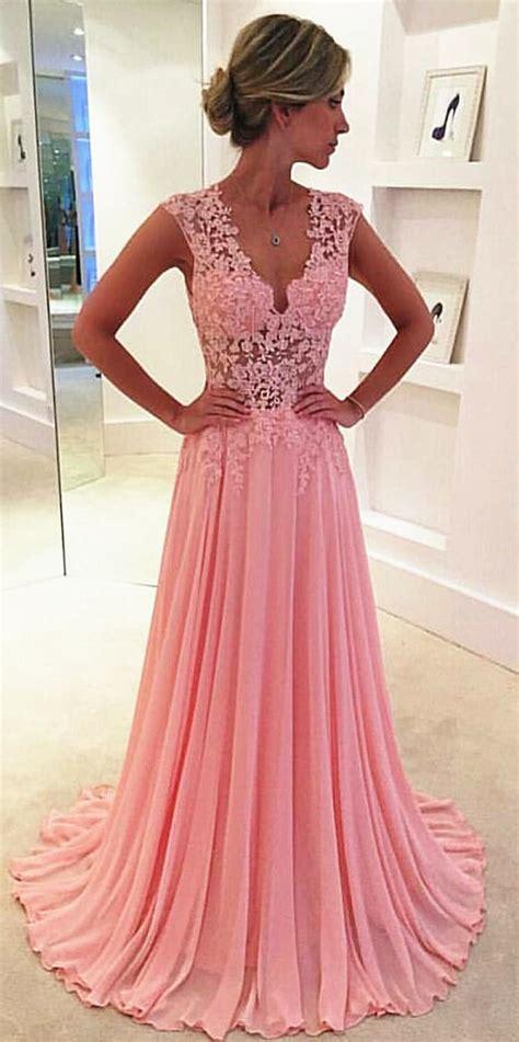 V Neck Pink 2017 Long Prom Dresses Elegant Popular Evening