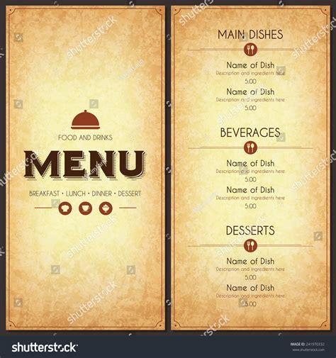 carte cuisine restaurant menu design vector menu brochure stock vector