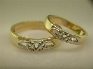 14k gold white gold irish handcrafted celtic wedding With irish wedding ring sets