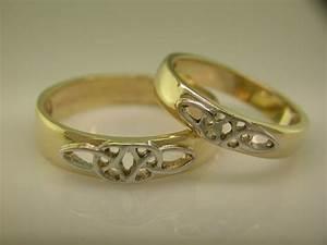14k gold white gold irish handcrafted celtic wedding With irish wedding rings sets