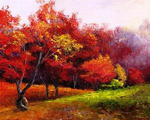 """Items similar to Autumn Trees in Red original 8""""x10"""" oil ..."""