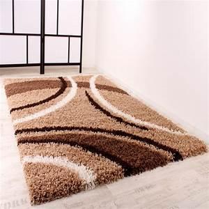 Shaggy Hochflor Teppich : shaggy teppich hochflor langflor gemustert in braun beige creme alle teppiche ~ Markanthonyermac.com Haus und Dekorationen