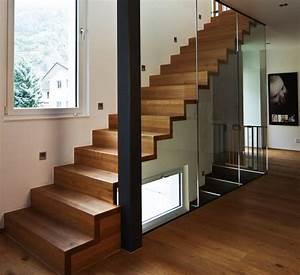 Marche Bois Escalier : escalier en bois moderne marche et contremarche avec garde ~ Premium-room.com Idées de Décoration