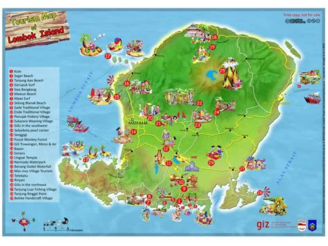 tourism map  lombok island indonesia travel guide