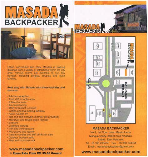 masada backpacker kota kinabalu flyers brochures