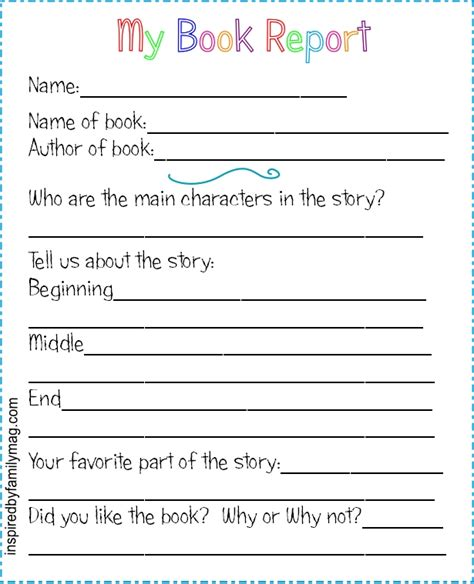 printable book report forms elementary inspired  family