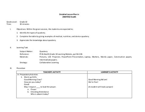 Detailed Lesson Plan (5a's