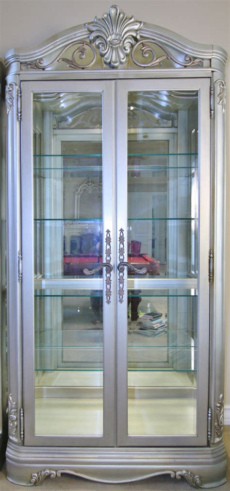 glass cabinet with lights sold thomasville curio cabinet lighted glass cabinet