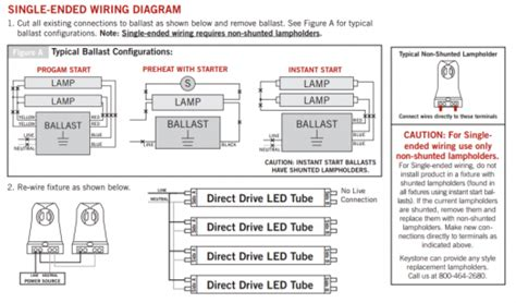 single ended wiring diagram led t8 premier lighting