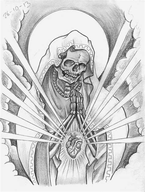 Skeleton virgin Mary with anatomical heart | Sketches, Skull sketch